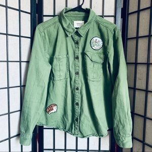 Forever 21 green patch utility jacket sz M